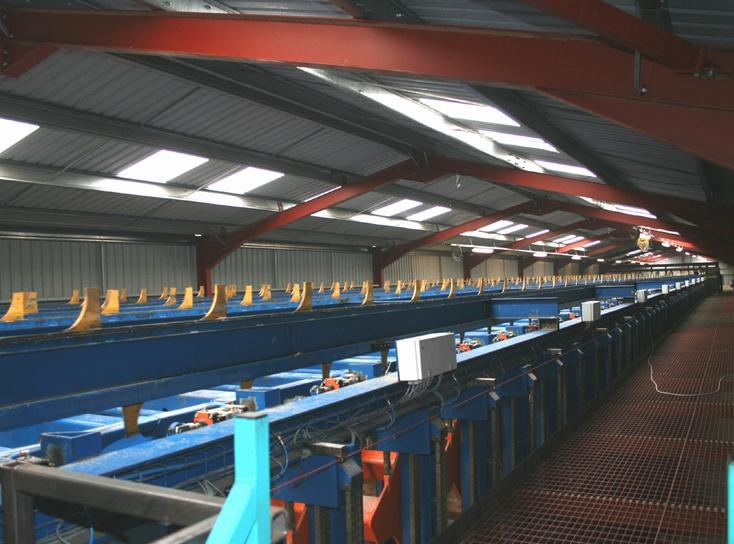 Sorting line with 50 boxes